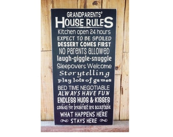 Grandparents' House Rules, Grandma's House Rules, 9.5 x 18 wood sign, Humorous Sign, Grandparents Day, Grandparents Sign, House Rules