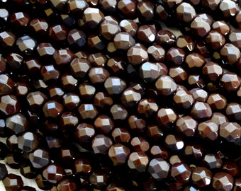 25 6mm Czech glass beads, dark brown firepolished faceted round beads C5525
