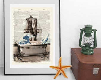 The Great Wave in the Bath - Hokusai Inspired Vintage Upcycled handmade Dictionary Print - Suitable for the Bathroom