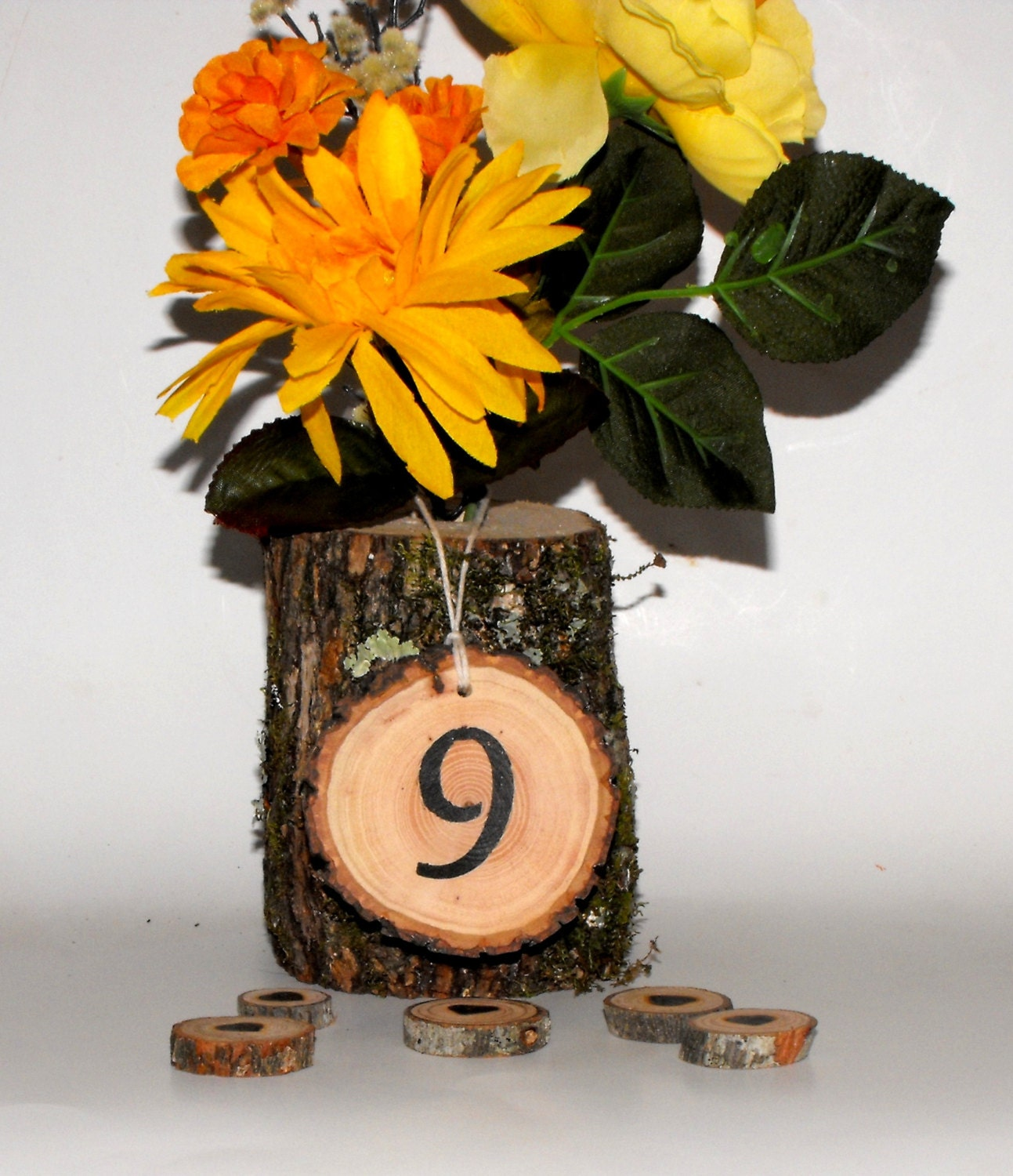 Centerpieces log vase table number rustic by ozarkcraftwood