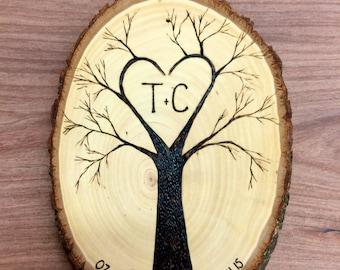 Personalized Tree Branch Heart Initials Plaque Wall Hanging