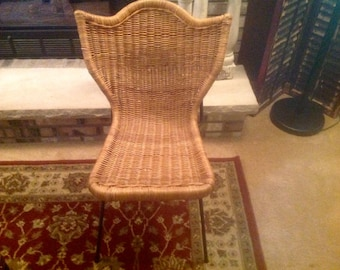 Vintage Wing Back Heavy Wicker Metal Chair Room Decor