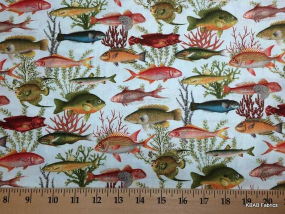 Items similar to tropical fish fabric by the yard half for Fish fabric by the yard