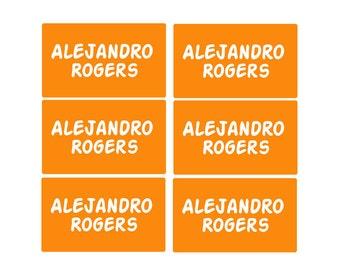 95ct Stick On Clothing Name Labels,  Kids Clothing Labels, Personalize Uniform Name Labels - Camp Orange Labels