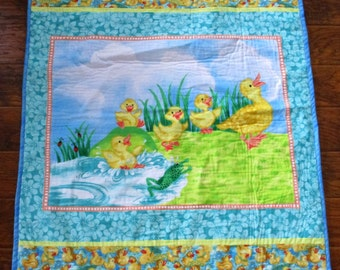 """So Sweet *Mother Ducks and her Ducklings*  42""""x49"""" Nursery Crib Baby Toddler Stroller Napping Blanket *Ready to Ship"""