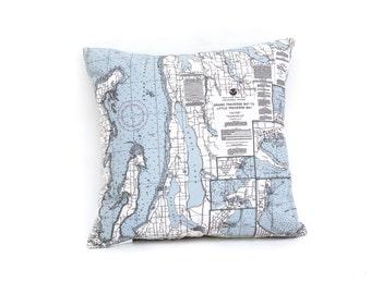 Nautical Map Pillow of Grand Traverse Bay, Michigan - INDOOR/OUTDOOR