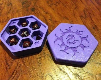 Custom Polyhedral Dice Hex Box/Full Dice Holding Box/DND/GOT/Game of Thrones/Dungeons and Dragons/Board Games/Dice Holder,Gift/Nerd/Geek
