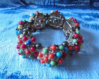 1960s multi-coloured domed cluster bead elasticated bracelet