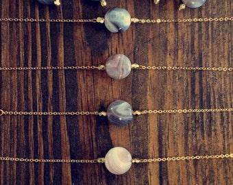 Minimalist agate stone bracelet