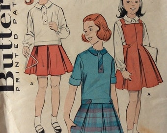 Butterick 8821 girls blouse & jumper size 2 or size 8 vintage 1950's sewing pattern
