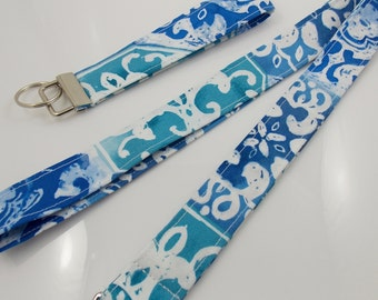 Lanyard Teacher Lanyard  Damask Lanyard Ocean Blue Lanyard  Dolphin Lanyard Dolphin Charm Key Holder ID Badge Holder Turquoise Lanyard