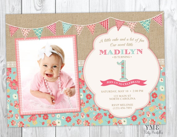 First Birthday Invitation Shabby Chic Burlap and Lace Invite