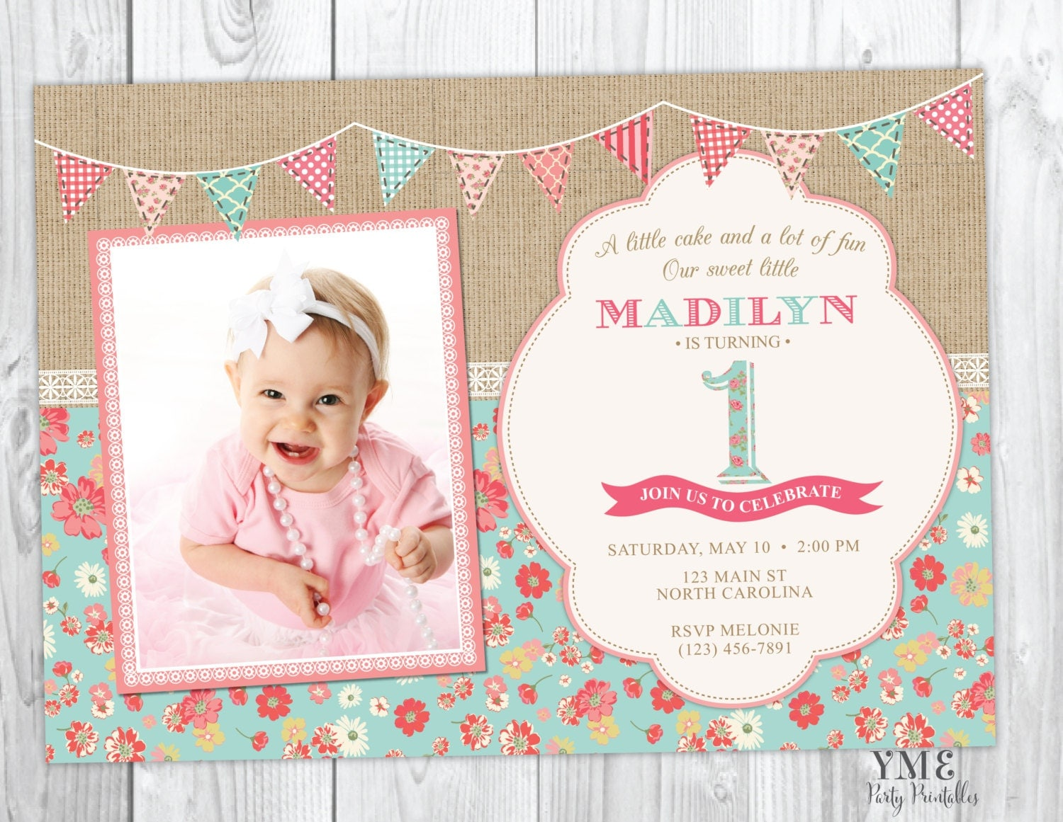 First Birthday Invitation Shabby Chic Burlap And Lace Invite - Baby girl first birthday invitation ideas