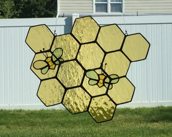 Stained glass honeycomb and bee suncatcher, stain glass bee, bumble bee, honey comb, glass bee sun catcher, honey, beehive