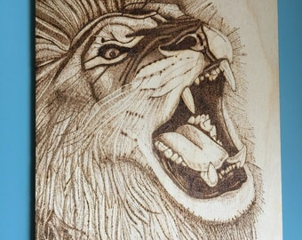 Hand burned pyrography roaring lion plaque