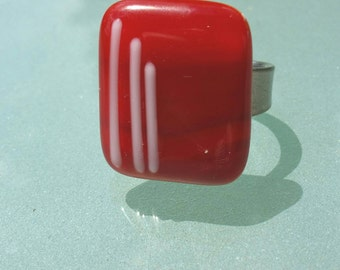 ring red and white , Adjustable red ring fusing glass handmade