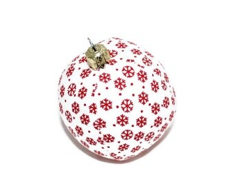 Christmas Ball 6 cm snow flake white red unbreakable sewn fabric ball ball bauble Christmas ornament Eisbaerchenmama