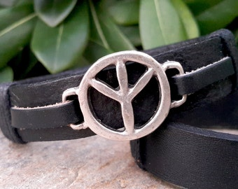 Mens Leather Peace Sign Bracelet, Mens Leather Jewellery, Adjustable Leather Bracelet, Genuine Black Leather Cuff Design, Gift for Him
