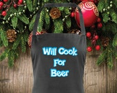 Will Cook For Beer Apron Perfect Gift Idea Christmas Idea Birthday Idea Unisex Apron