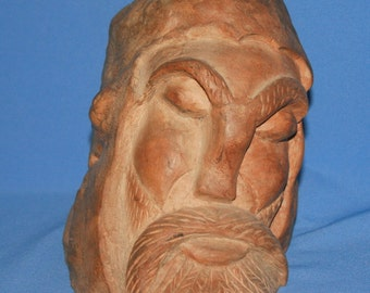 Antique European Male Head Hand Carved Wood Bust