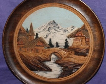 1940 Hand Painted Landscape Gouache Wood Wall Hanging Plate