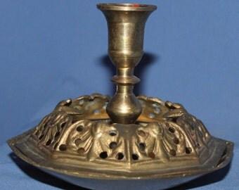 Vintage Brass Candlestick Ashtray