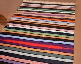 Bunkar Handmade Multi-Color Stripes Reversible Cotton Dhurrie Rug Style 5075 : Size 5'x7'
