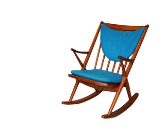 Mid Century Teak rocking chair by Frank Reenskaug for Bramin