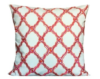 White Pink Orange Trellis Pattern Pillow Cover Trellis Geometric Pattern Accent Pillow Throws 14x14 16x16 18x18 20x20 22x22