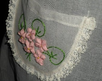 Vintage Sheer White Organdy Apron w/ Raised Pink Flowers