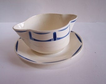 White and blue sauce boat gravy boat saucer from Badonviller decor Lucie vintage  Made in France