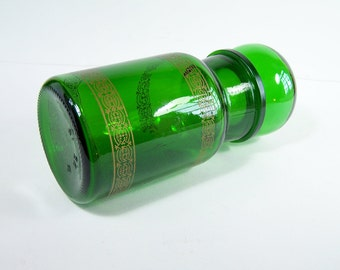 Apothecary jar green glass and golden frieze bulb lid vintage