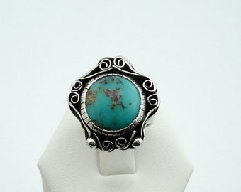 Vintage Sterling Silver Turquoise Ring. Southwest Native American Collectable #RDTQS-SR2
