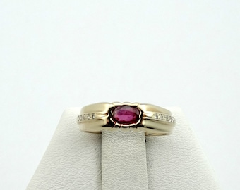 Simple Ruby and Diamond 14K Yellow Gold Ring #DMNDRBY-GR4