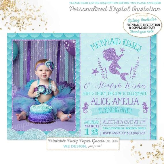 Mermaid Invitation Mermaid 1st Birthday Invitation Mermaid