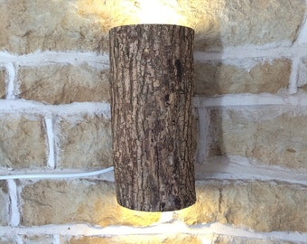 Wooden Log Wall Light Real Log Wall Light Fixture Light Fitting Rustic Natural Nature Woods Forest Tree Up Down Lighter