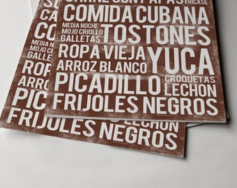 Cuban Food Poster - Brown - Word Art - Food Art Print