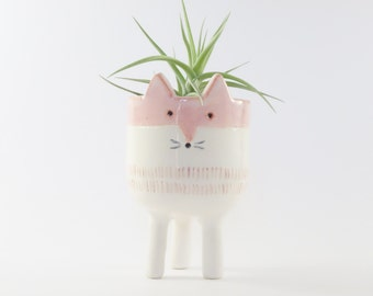 White Tripod Fox Planter - Snow Fox Plant Pot - Handmade Ceramic Studio Pottery
