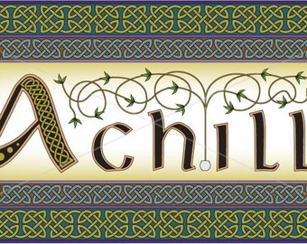 Irish Achill Island intricately rendered with celtic knots, original design