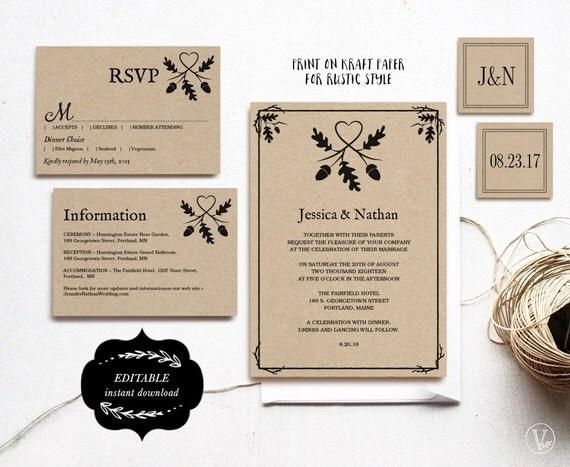 Printable Wedding Invitation Set Kraft Paper Wedding