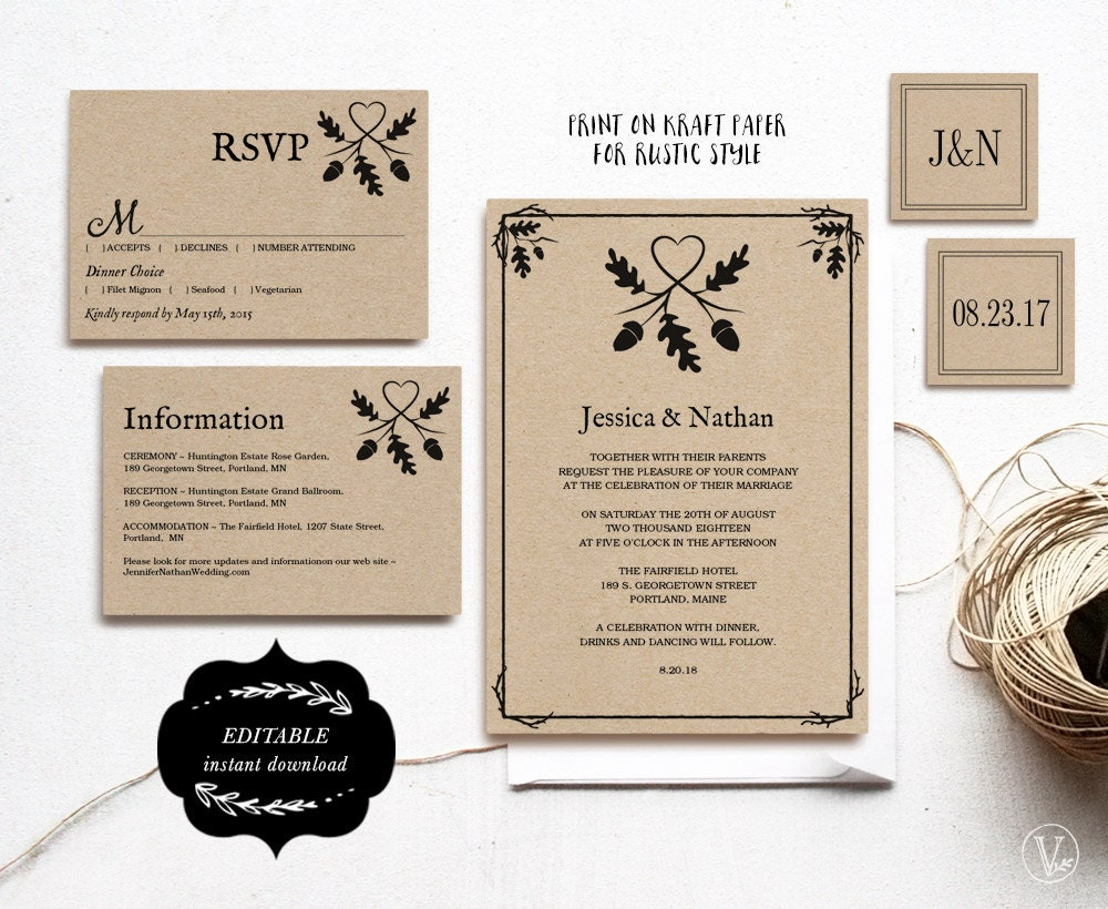 Printable Wedding Invitation Sets: Printable Wedding Invitation Set Kraft Paper Wedding