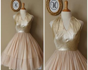 Vintage 1950's ~ 50's Gold Evening Dress