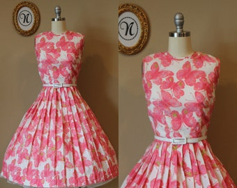 Vintage 1950s~60s Butterfly Novelty Print Summer Dress