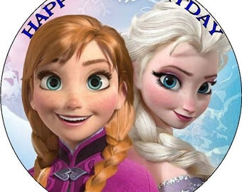 "Frozen - Design 1... Personalized 7.5"" Circle Icing Cake Topper"