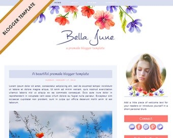 Blogger Template - Premade Blog Design - INSTANT DOWNLOAD - Bella June Theme