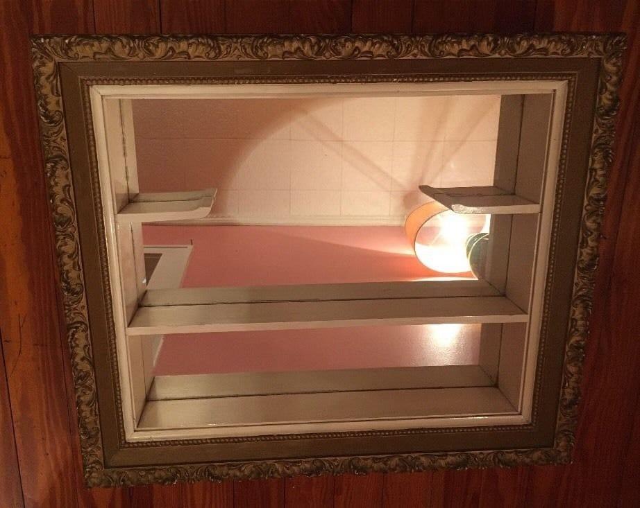 Vintage Mirrored Shadow Box Hollywood Regency Wall Shelf