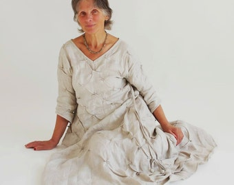 Made to order.Handmade.Linen dress.Front of the dress can be in  both sides . Dreamy, romantic and unique.  Natural and inspiring.  Linen