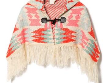 Aztec Hooded Poncho with Fringe