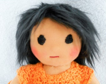 Waldorf doll, cloth, fabrics, 24cm black hair degraded