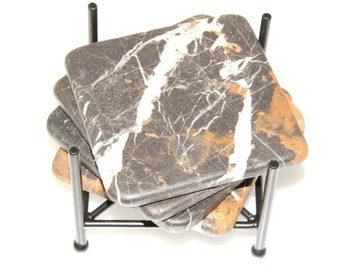 4 inch Michelangelo Marble Drink Stone Coasters 1 set of four w/ Square Wrough Iron holder